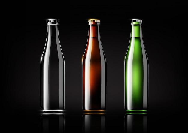 Przejrzysta szklana butelka, brown butelka i zielona butelka dla projekta pakunku, reklama, piwo i napój, ilustracja