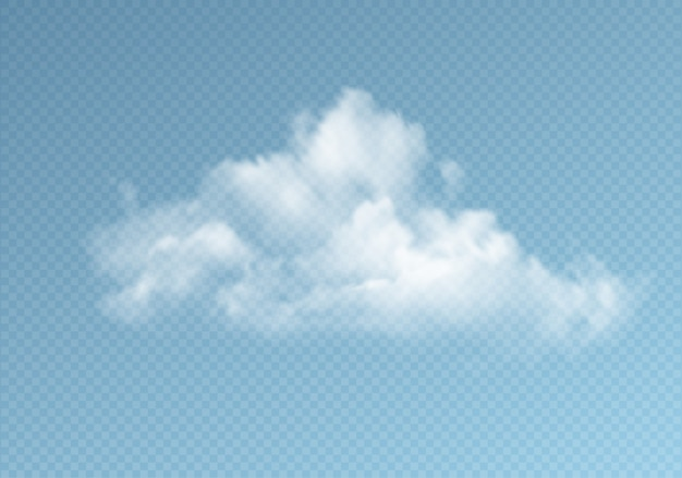 Przejrzyste chmury odizolowywać na błękitnym tle. prawdziwy efekt przezroczystości.