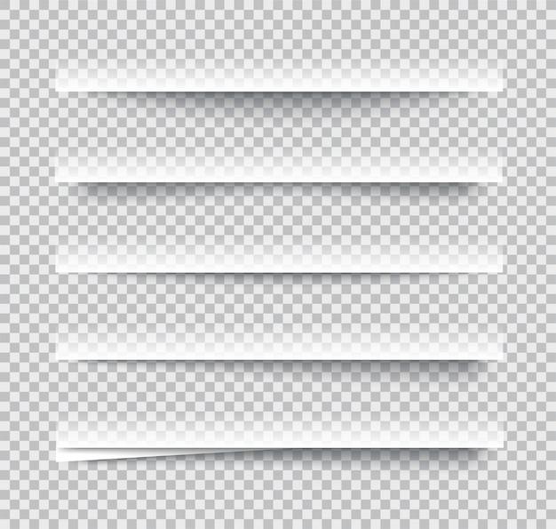 Przejrzyste realistyczne efekty cienia papieru