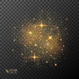 Przejrzysty efekt świetlny blasku. gwiazda wybuchła iskierkami. brokat złoty