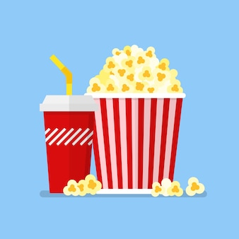 Przekąska i napój popcorn w stylu płaski