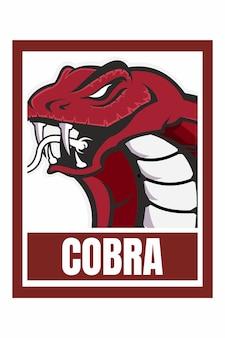 Przekąska kobra ilustracja rama projekt twarzy na białym tle