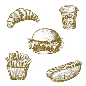 Przekąski i desery fast food ikony szkicu