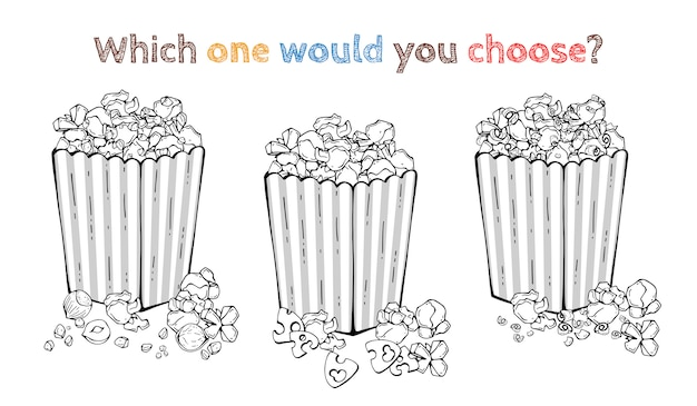 Przekąski wektorowe: popcorn z orzechami, popcorn z sera, popcorn czekoladowy.