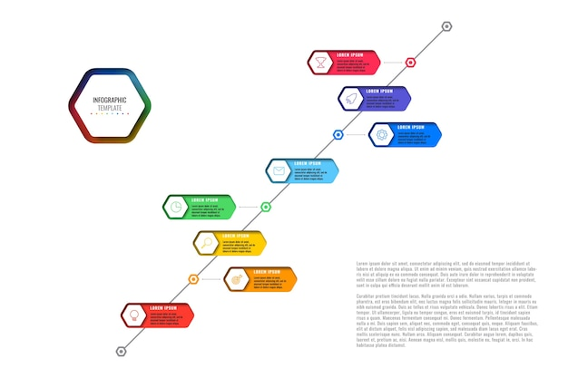 Przekątna szablon osi czasu z ośmioma realistycznymi sześciokątnymi elementami z ikonami cienkich linii na białym tle. nowoczesny schemat z geometrycznymi otworami w papierze. wizualizacja do prezentacji