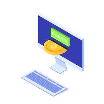 Przekaż koncepcję izometryczną online. pulpit ze złotymi monetami i kluczem donatuj.