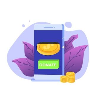 Przekaż koncepcję online. smartfon ze złotymi monetami i kluczem donatuj