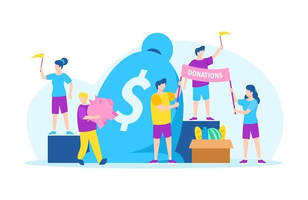 Przekaż pieniądze na cele charytatywne, pomoc wolontariuszy, ilustracji wektorowych. mężczyzna kobieta postać dająca pomoc finansową, pomoc i wsparcie. wolontariusze trzymają flagi, instalują plakat w pobliżu ogromnego worka na pieniądze.