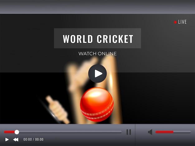 Przekaz wideo na żywo z ilustracją z realistyczną piłką do krykieta. światowy zegarek krykieta online