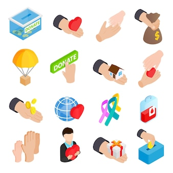 Przekaż zestaw ikon. izometryczny zestaw ikon darowizny dla sieci na białym tle