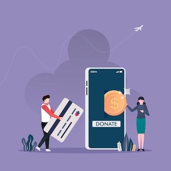 Przekazywanie pieniędzy przez płatności online z mężczyznami i kobietami przekazuje swoje pieniądze na koncepcję zbierania funduszy na cele charytatywne.