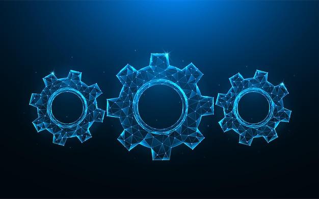 Przekładnie lub koło zębate low poly art. mechanizm wielokątne ilustracje na niebieskim tle.
