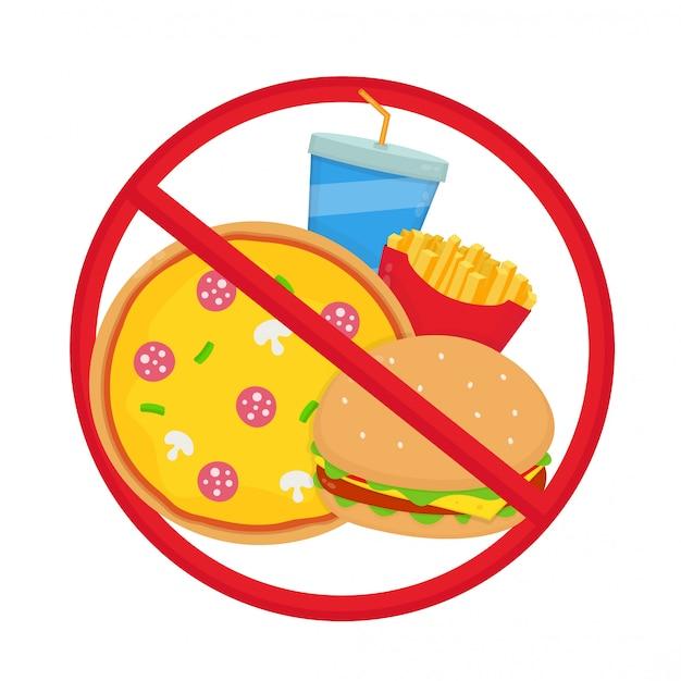 Przekreślone śmieciowe jedzenie. pizza, burger, frytki, napoje gazowane.