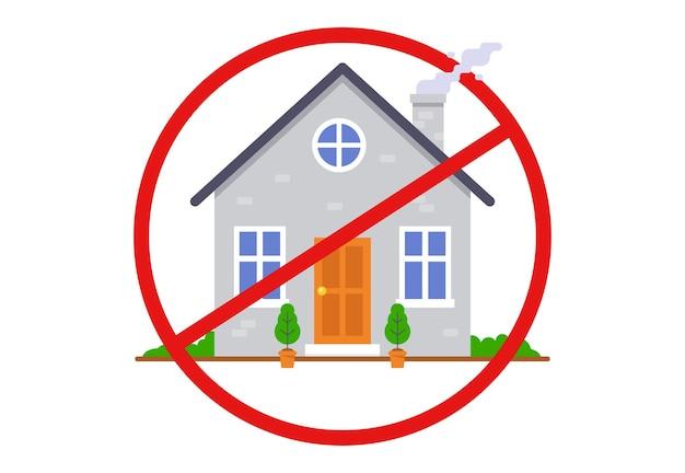 Przekreślony symbol domu. zakaz wchodzenia do budynku. ilustracja wektorowa płaskie.