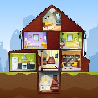 Przekrój domu. pokój wnętrze sypialni piwnica mieszkanie wnętrze zdjęcia w stylu kreskówki