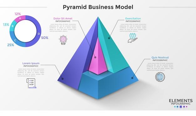 Przekrój piramidy 3d podzielony na 4 części, symbole cienkiej linii, wskazanie procentowe. koncepcja modelu biznesowego piramidy. szablon projektu plansza. ilustracja wektorowa do prezentacji.