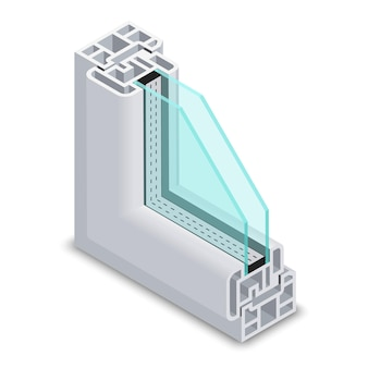 Przekrój przez okno z przezroczystego szkła. konstrukcja ramy okiennej. okno z plastikową ramą profilową