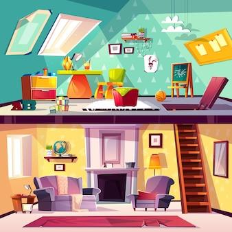 Przekrój tło, wnętrze kreskówka pokój zabaw dla dzieci na poddaszu, salon