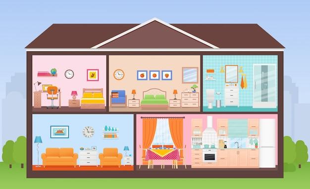 Przekrój wnętrza domu z pokojami. ilustracja w płaskiej konstrukcji.