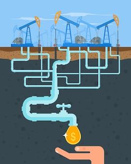 Przekształć koncepcję ropy w pieniądze. zdobądź gotówkę z fajki. pompy paliwowe. ilustracja w stylu płaski. przemysł benzynowy i gazowy