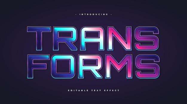 Przekształca tekst w kolorowy styl z efektem świecenia. edytowalny efekt stylu tekstu