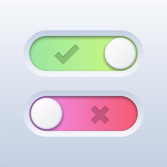 Przełącz przełącznik włącz lub wyłącz na białym tle