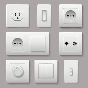 Przełącznik ścienny. zasilanie gniazdka elektrycznego włącz i wyłącz realistyczne zdjęcia