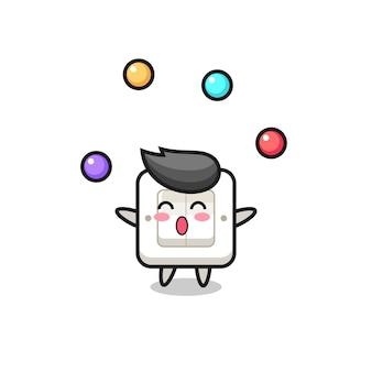Przełącznik światła cyrk kreskówka żonglująca piłką, ładny styl na koszulkę, naklejkę, element logo