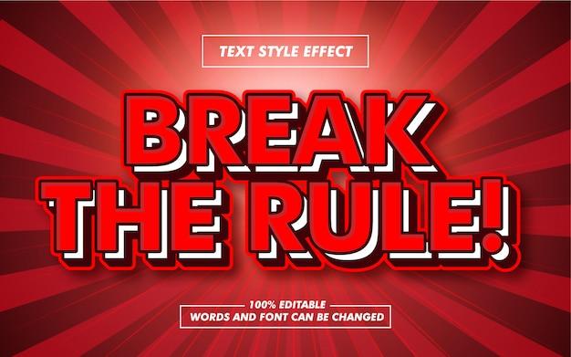 Przełam czerwony pogrubiony efekt stylu tekstu