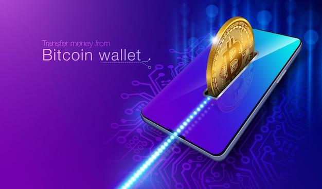 Przelej pieniądze z portfela na monety bitcoin na smartfon