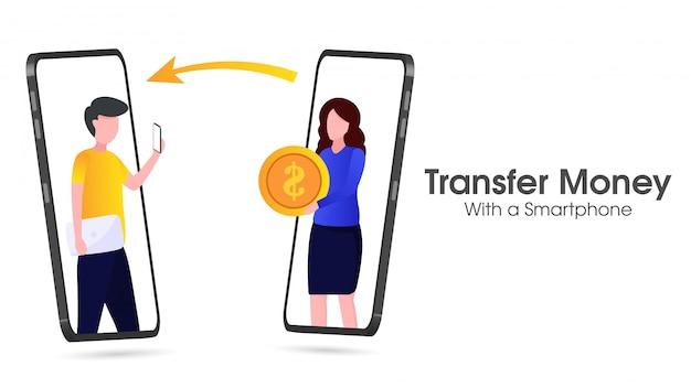 Przelew pieniędzy. ilustracja pieniędzy za pomocą smartfona