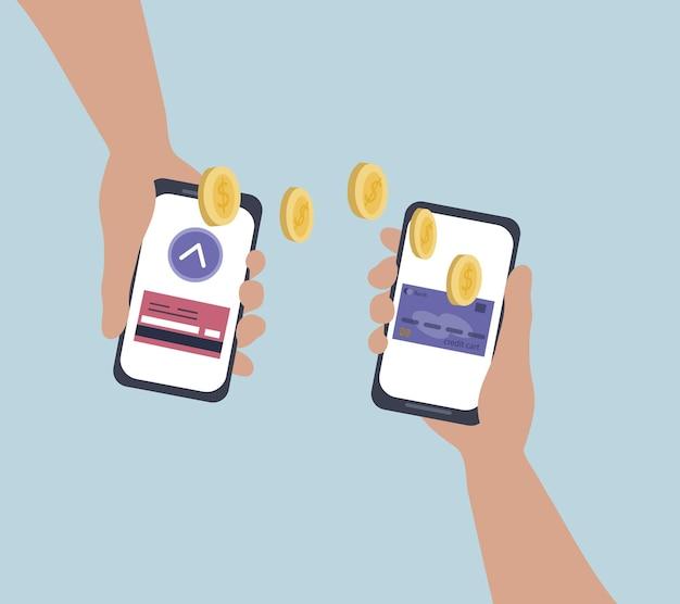 Przelew pieniędzy online za pośrednictwem bankowych aplikacji mobilnych