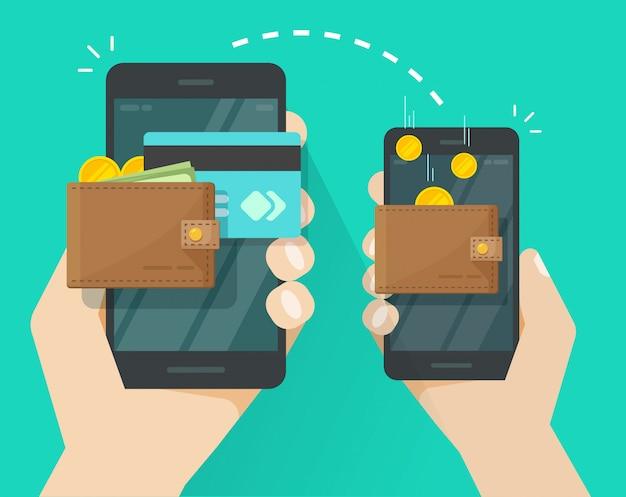 Przelew pieniędzy transakcja przez telefonów komórkowych lub telefonów komórkowych ilustracyjnej płaskiej kreskówki