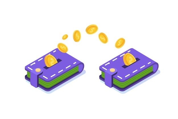 Przelew pieniędzy z portfela do portfela. ilustracja izometryczna.