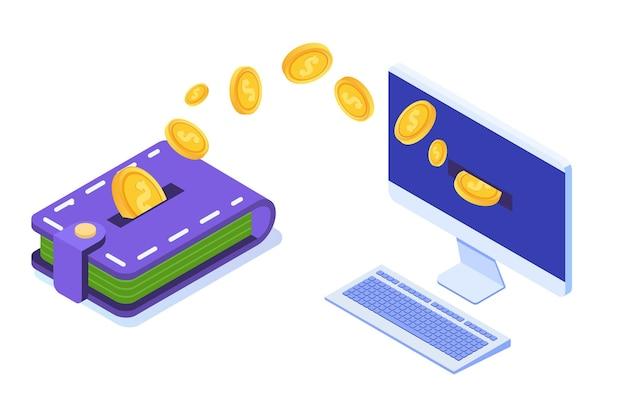 Przelew pieniędzy z portfela na komputer.