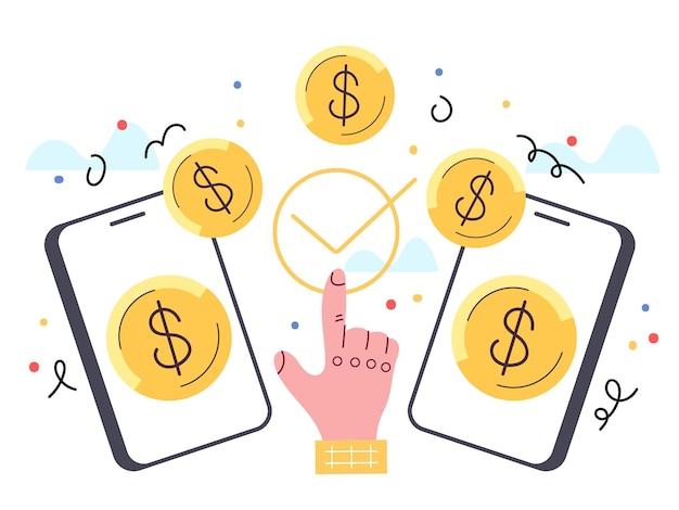 Przelew płatności z telefonu na telefon element projektu wektor ilustracja kreskówka płaska