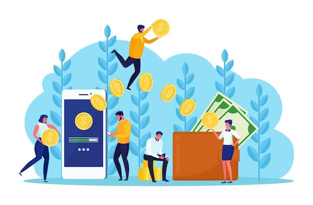 Przelew z portfela cyfrowego, pracownik banku, ludzie. cashback, nagroda. ludzka ręka trzyma telefon komórkowy z torebką z gotówką, monetą, kartą kredytową, dolarem. płatność online. projekt