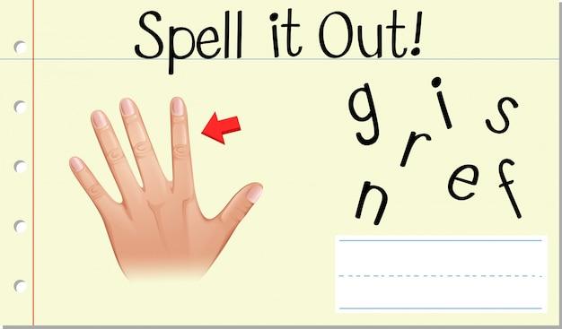 Przeliteruj angielskie słowo palce