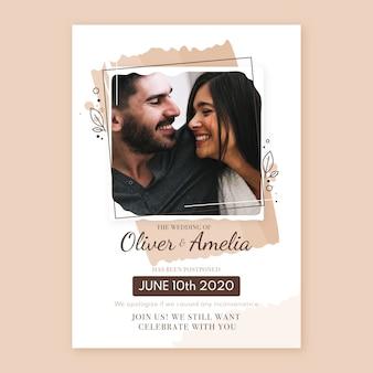 Przełożona karta ślubu ze zdjęciem