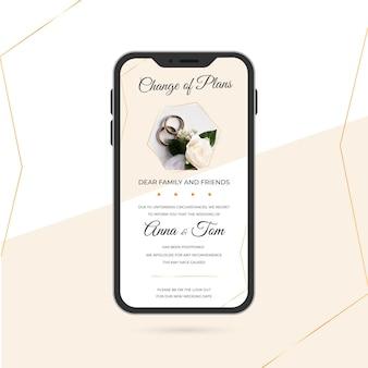 Przełożone ogłoszenie ślubne dla telefonów komórkowych