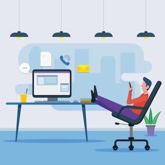 Przełożony koncepcja z mężczyzną i biurkiem