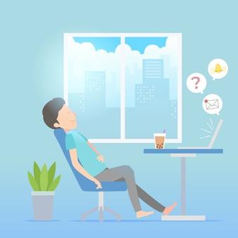 Przełożony pojęcie ilustrowane osobą relaksującą przy biurku