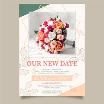 Przełożony szablon karty ślubu ze zdjęciem