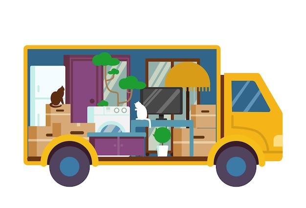 Przemieszczająca się ciężarówka pełna mebli i pudeł widok od wewnątrz