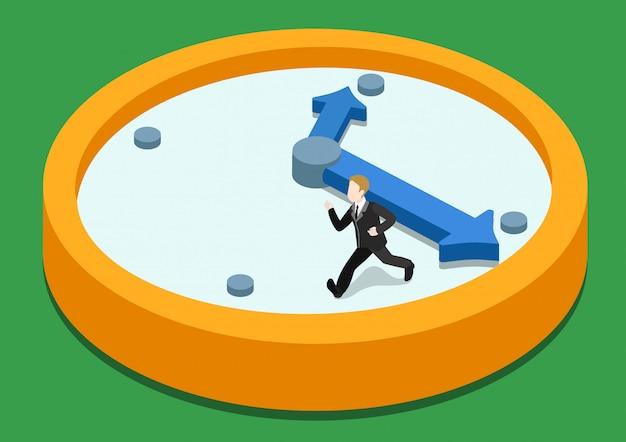 Przemijania czasu pośpiechu pojęcia isometric ilustracja. biznesowy mężczyzna ucieka na zegarze od dużej ręki.