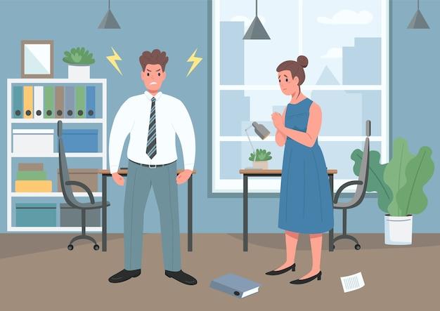 Przemoc domowa płaski kolor ilustracja
