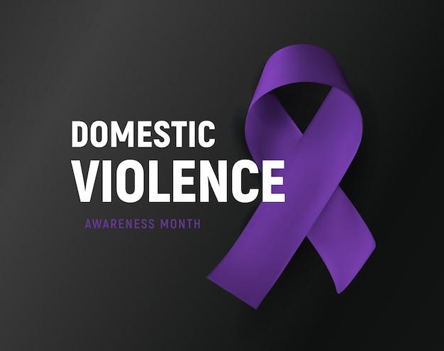 Przemoc domowa. purpurowa wstążka przeciwko przemocy domowej plakat. nadużywane wsparcie dla ofiar