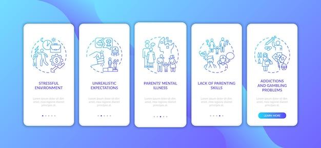 Przemoc emocjonalna ze strony rodziców, ciemnoniebieski ekran wprowadzający aplikację mobilną z koncepcjami. wskazówki dotyczące bezpieczeństwa dzieci w pięciu krokach. szablon ui z kolorowymi ilustracjami