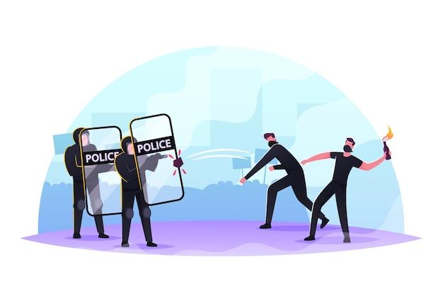 Przemoc rozruchy, protesty, strajki lub demonstracje