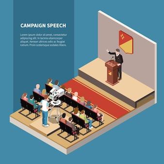 Przemówienie w kampanii izometrycznej z kandydatem politycznym na scenie operatora telewizyjnego i elektoratu na ilustracji hali